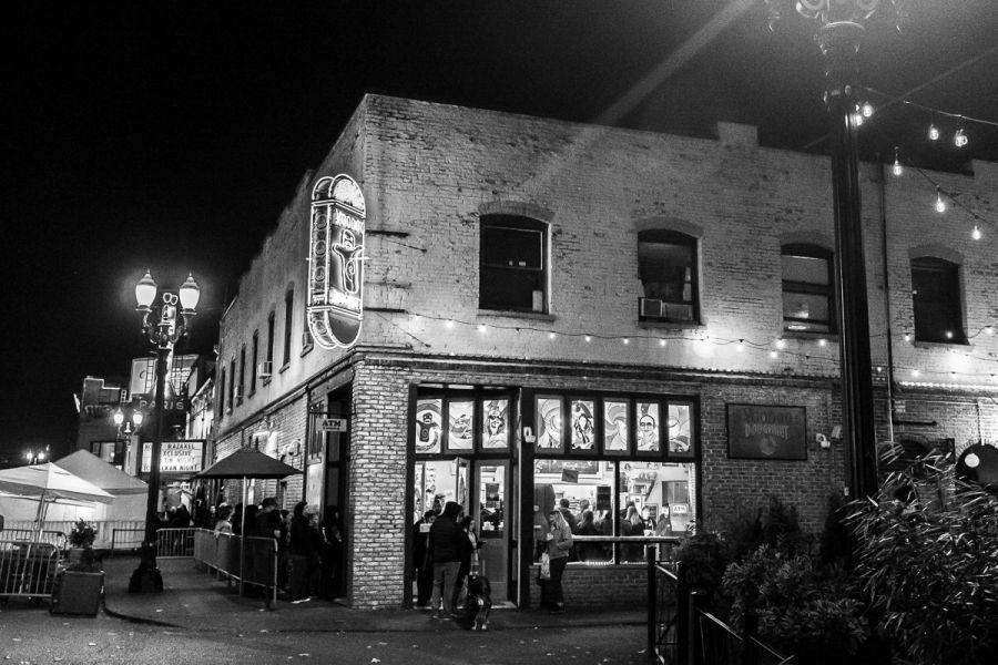 Like a beacon in the dark to tourists and late-night revelers, Voodoo Doughnuts's downtown Portland location is always open.