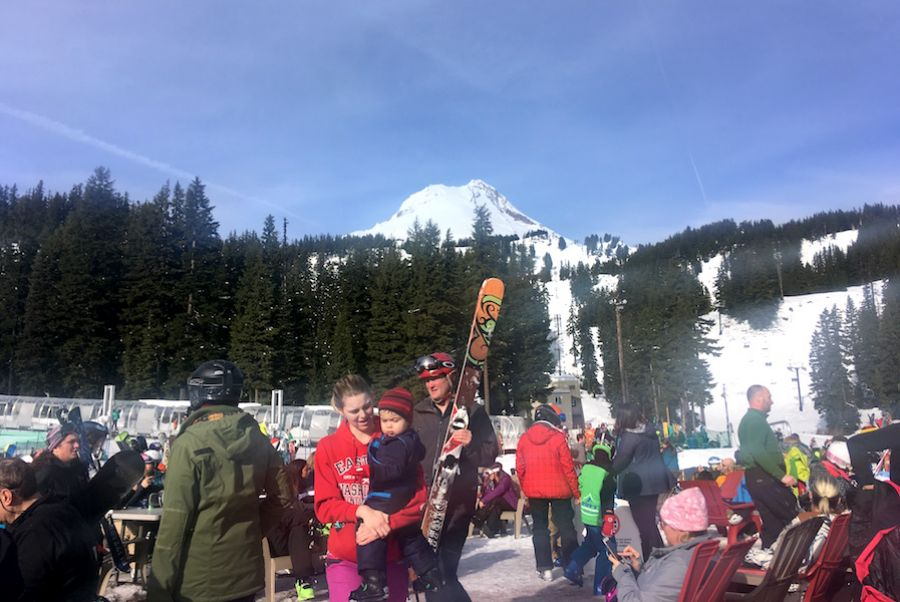 Skiers on a warm day at Mount Hood Meadows